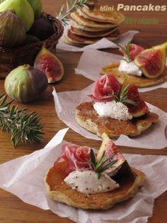 Mini Pancake fichi e rosmarino, con robiola e prosciutto crudo - Deliziosa Virtù