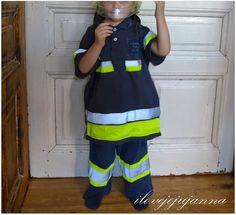 Feuerwehrmannkostüm aus Pyjamahose, Warnweste und Shirt / Firefighter costume made of lower part of pjs, reflective vest and shirt / Upcycling Pjs, Firefighter, Upcycle, Shirts, Costumes, Sewing, Tape, Crafting, Fashion