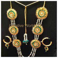 Golden gota jewelry set with green embellishments ,ideal for wedding. Gota Patti Jewellery, Fancy Jewellery, Thread Jewellery, Diy Jewelry, Jewelery, Handmade Jewelry, Fashion Jewelry, Jewelry Design, Diy Wedding Earrings