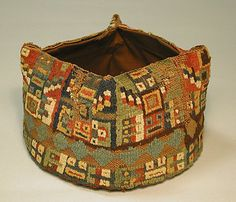 Four-Cornered Hat Date: century Geography: Peru Culture: Wari Medium: Camelid hair Dimensions: Height in. Peru Culture, Maker Culture, Ancient Peruvian, Peruvian Art, Peruvian Textiles, Hat Patterns To Sew, Textile Patterns, Cleveland Museum Of Art, Inca