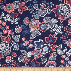 Designed by Studio 8 for Quilting Treasures, this cotton print fabric is perfect for quilting, apparel and home decor accents. Colors include shades of coral, blue, and white.
