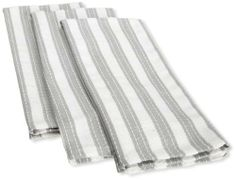Bon Mahogany Basketweave With Ticking Kitchen Towel, Set Of 3, 18 By 28, Grey