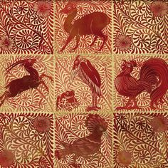 William de Morgan (1839-1917, English). Ruby lustre grotesque animal tile. He designed tiles, stained glass and furniture for (William) Morris & Co.