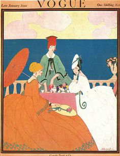 Vintage Vogue cover by Helen Dryden, January 1917