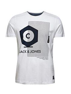 Jack and Jones Lolo t-shirt white Jack & Jones Mens Graphic, White @ TDF Fashion Mens Tee Shirts, Boys T Shirts, Cool Shirt Designs, Armani Jeans, Mens Fitness, Graphic Tees, Casual Outfits, Menswear, Polo