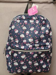Hello Kitty Backpack Bookbag with Cupcakes Hearts Navy MSRP 50.00 New With Tags #HelloKitty