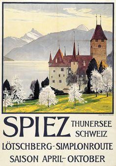illustration suisse : affiche de tourisme, Spiez Thunersee, Plinio Colombi, château, architecture