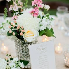 Romantic Pink and White Centerpieces