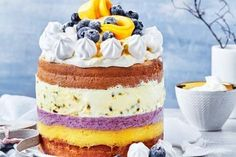 Easy freezy mango and blueberry trifle cake – Blechkuchen rezepte Ice Cream Desserts, No Cook Desserts, Frozen Desserts, Summer Desserts, Sweet Desserts, Christmas Ice Cream Cake, Christmas Desserts, Christmas Trifle, Christmas Cooking