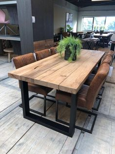 60 dining room table decorating ideas you want 35 Dining Room Table Decor, Wooden Dining Tables, Dining Room Design, Metal Leg Dining Table, Modern Rustic Dining Table, Industrial Table, Home Furnishings, Home Furniture, Rattan Furniture