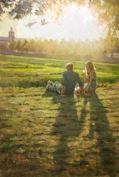 Summer evening picknic | oil on panel painting by Richard van Mensvoort