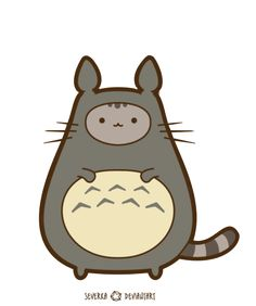 Commission: Pusheen in Disguise by Severka.deviantart.com on @deviantART   Pusheen in a Totoro suit. My head just might explode now!!