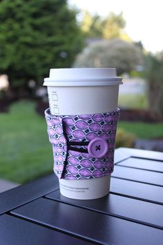 Reusable Coffee Sleeve / Coffee Cozy  Pink and Black by ckstitches