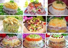 9 recipes for tasty salads (all are simple and fast - Salat Salad Recipes, Dessert Recipes, Yummy Food, Tasty, Cooking Recipes, Healthy Recipes, Fast Recipes, Russian Recipes, Snacks