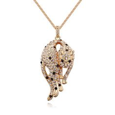 Alvdis Leopard Style Crystal Long Sweater Chain Pendant Necklace, 32', Clear ** Unbelievable  item right here! : Jewelry Necklaces