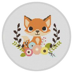 Fox Nursery Baby Cross Stitch Pattern Modern Cross by Xrestyk