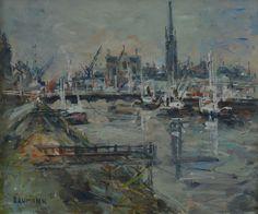 """Joseph RAUMANN (1908-1999) """"Au bord de la Gironde à Bordeaux"""" hsp"""
