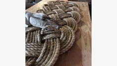 Nearly finished rope mat by Mystic Knotwork on the Martha Stewart American Made site.  Please share and check out their story.  Vote if you love nautical decor