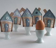 EGG COZY SET. Handmade Beach Hut Cozies. Blue Shabby Chic Egg Cosy. Nautical Kitchen Theme. Seaside Cottage Kitchen. Boiled Egg Cosies