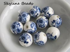 Printed Porcelain Beads Round White w/BlueFlowers by SkylineBeads, $2.65