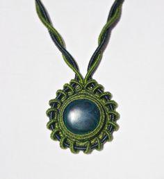 Adjustable Macrame Necklace with Malachite by MamaKrameJewelry
