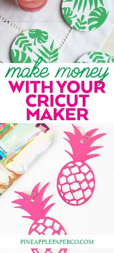 Get the basics! Easy tips to start making money with a Cricut Maker! Is it worth spending the money on a Cricut Maker? Get ideas and projects to start a business at Pineapple Paper Co. #ad #cricut #cricutcreated #cricutmaker #mokemoneycricut #startabusiness #diybusiness #craftshow #cricutprojects Easy Diy Projects, Easy Crafts, Cricut Creations, Cricut Vinyl, Papers Co, Cricut Design, Pineapple, Money, Creative