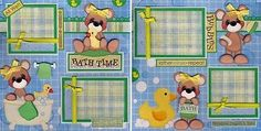Bath Time 2 Premade Scrapbook Pages Paper Piecing Baby Girl 4 Album by Cherry | eBay