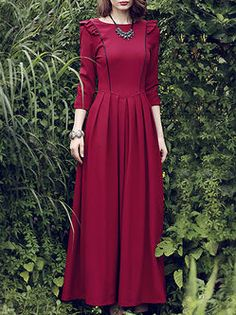 Shop Red Plain Polyester Sleeve A-line Maxi Dress Online. The world's most-coveted and unique designer apparel - Sexyplus everyday. Modest Dresses, Modest Outfits, Stylish Dresses, Elegant Dresses, Vintage Dresses, Casual Dresses, Modern Hijab Fashion, Muslim Fashion, Modest Fashion