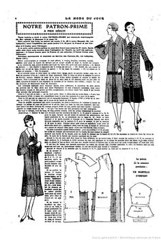La Mode du jour.  Vintage 1920s Dress Pattern