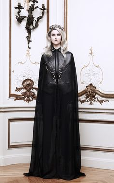 Chiffon And Leather Long Cape by Givenchy Now Available on Moda Operandi