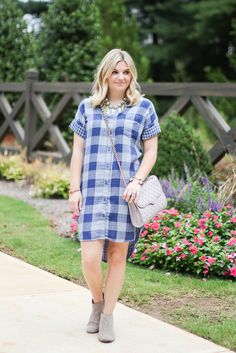 Fall Fashion, Gray booties and gray quilted handbag. Plaid fall dress.