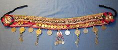 "Belt Studs Coins Bells Dangles Afghan Kuchi Tribal Alpaca Silver Belly Dancing 41"" long"
