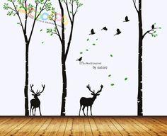 "Wall Decor Decal Sticker Removable Large 96"" Birch Tree Birds Wit Fallen Deer | eBay Little brother birthday"