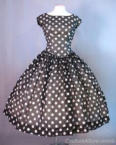 Vintage 50s Dress Full Skirt Polka Dots Small S bust 37 at Couture Allure Vintage Clothing