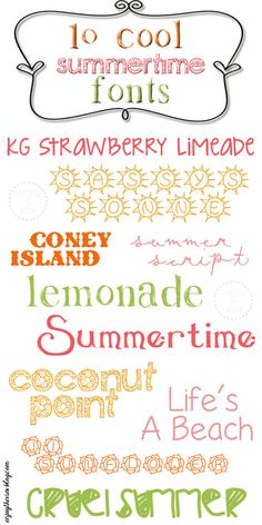 {enjoy the view}: 10 Cool Summertime Fonts  ~~ {10 Free Fonts w/ easy download links}