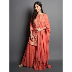 Check out Anita Dongre Sharara suit worn by Katrina Kaif Contact our Stylist for any queries or price details at Dress Indian Style, Indian Fashion Dresses, Fashion Outfits, Trendy Outfits, Fashion Trends, Pakistani Dresses Casual, Pakistani Dress Design, Indian Attire, Indian Ethnic Wear
