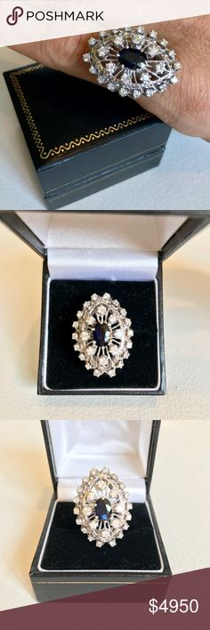 Vintage 1920's diamond & sapphire white gold ring Vintage 1920's diamond & sapphire 14k white gold ring. Stunning ring with heart shaped design carved into the setting. 2 carat deep blue sapphire and 1.10 carats of diamonds. Bought & made in England Vintage Jewelry Rings