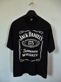 Old No 7 JACK DANIELS Logo 90s Whiskey Beer Drinker T-Shirt XL