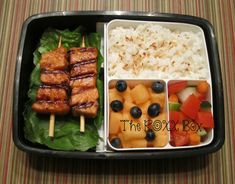Thai Chili Paste Salmon Skewers with Coconut Rice Bento Box, work lunch, melon, fruit Bento Recipes, Lunch Box Recipes, Lunch Snacks, Box Lunches, Lunch Ideas, School Lunches, Bento Ideas, Food Ideas, Lunch Foods