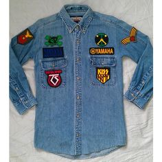 KodChaPhornJacket465 Patched Denim Reworked Vintage Jean Shirt With... ($59) ❤ liked on Polyvore featuring tops, blouses, black, women's clothing, black blouse, black sleeve shirt, denim top, black checkered shirt and sleeve shirt