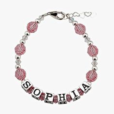 Personalized Name Baby Bracelet Sterling Silver and Swarovski Crystals: Newborn Infant Baby Toddler Girl - http://www.jewelryfashionlife.com/personalized-name-baby-bracelet-sterling-silver-and-swarovski-crystals-newborn-infant-baby-toddler-girl/