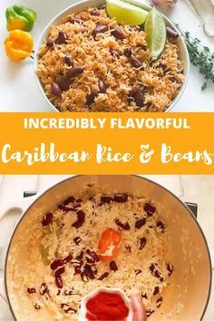 Caribbean Rice and Beans - Immaculate Bites Carribean Food, Caribbean Recipes, Healthy Caribbean Food, Caribbean Party, Vegetarian Recipes, Cooking Recipes, Healthy Recipes, Vegetarian Rice And Beans Recipe, Easy Rice And Beans Recipe