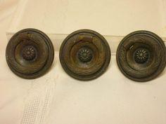 "3 Vintage Round Drawer Pulls With Screws Hardware DIY 1 3/4"" Replacement Knob #Unmarked"