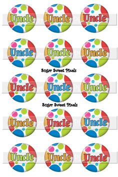 Instant Download  Bright Polka  Dots Uncle 1 inch Circle