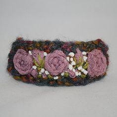Embroidered Barrette  Pink Roses by Lynwoodcrafts on Etsy, £9.00