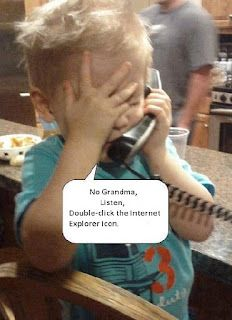 No Grandma, Listen, Double click the Internet Explorer Icon!