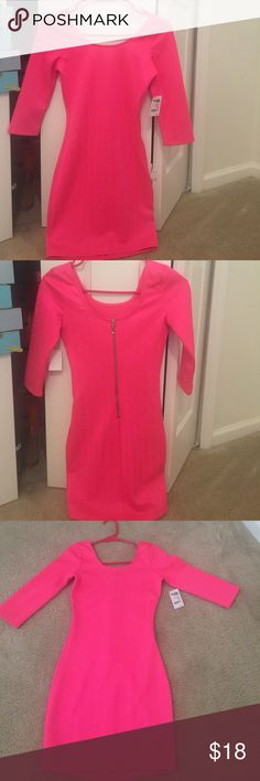 Charlotte Russe Hot Pink Dress Hot pink dress from Charlotte Russe. Brand new with tags attached. Never before worn, only tried this on. It has quarter sleeves and a zipper going down the back. Can wear as a cute dress with sandals/flats or dress it up as a sexy dress with a pair of heels! Size XS! I'm 5'3 and the last picture is the length of the dress on me. Charlotte Russe Dresses Mini