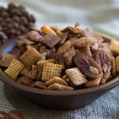 Butter, brown sugar and spice make a sweet and crunchy cereal mix. Ingredients 1/4 cup brown sugar 1 tablespoon pumpkin pie spice 1/4 cup butter 2 teaspoons vanilla 2 cups Cinnamon Chex™ cereal 2 cups Wheat Chex™ cereal 2 cups Honey Nut Chex™ cereal 8oz pecans Steps In small bowl, mix brown sugar and pumpkin …