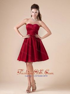 Ruched Decorate Sweetheart Neckline Knee-length Taffeta 2013 Prom / Homecoming Dress- $88.49  www.fashionos.com   discount prom dress | customize prom dress | free shipping prom dress | affordable prom dress | where to buy prom dress | prom dress online shop | prom dress websites | sleeveless prom dress | spring prom dress | fitted waist prom dress |