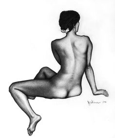 """Jeffrey Wiener  """"Seated, Twisted Nude""""  (Pencil on paper, 18"""" x 22"""")"""